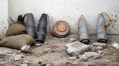 Munitions rigged for an IED discovered by Iraqi police in Baghdad in November 2005