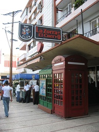 Imitation British-style box used as the entrance to a jazz club in Havana, Cuba