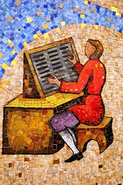 "Mural mosaic ""Typesetter"" at John A. Prior Health Sciences Library in Ohio"