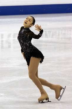 Kim performing her short program to Danse Macabre at the 2009 World Championships.