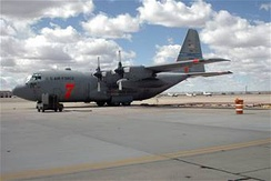A MAFFS-capable C-130 sits on a ramp at Kirtland Air Force Base, N.M. The MAFFS unit is deployed to Kirtland to lend air support to wildfires in West Texas.