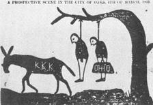 An 1868 cartoon published in The Independent Monitor of Tuscaloosa, Alabama, threatening the lynching of carpetbaggers by the Ku Klux Klan.