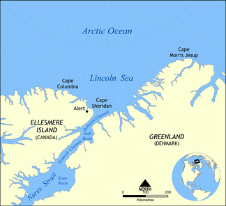 Robeson Channel, Hall Basin, Kennedy Channel, Kane Basin, and Nares Strait are all south of the northern limit of Baffin Bay between Cape Sheridan and Cape Bryant (unmarked).