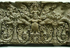 Khmer lintel in Preah Ko style, late 9th century, reminiscent of later European scrollwork styles