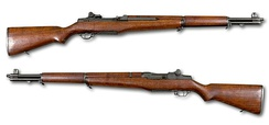 The M1 Garand, designed by John Garand in 1936 and initially produced for United States military.