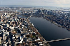 Cambridge and Boston; MIT and Kendall Square in the foreground, and Boston's Financial District in the background