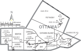 Map of Ottawa County, Ohio with municipal and township labels