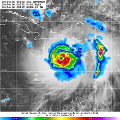Microwave image of rainfall rates in Matthew shortly before landfall in Haiti on October 4, showing rainfall over 25 mm (1 in) per hour occurring along the coasts of Haiti and the Dominican Republic