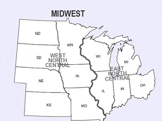 Divisions of the Midwest by the U.S. Census Bureau into East North Central and West North Central, separated by the Mississippi River.[1]