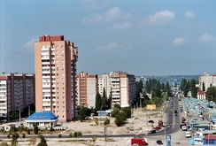 Microdistricts, such as this one in Mykolaiv, became common sights throughout the Ukrainian SSR's cities.