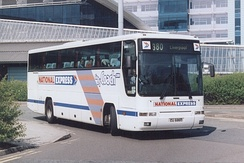 Plaxton Premiere bodied Volvo B10M at Manchester Airport in April 2003
