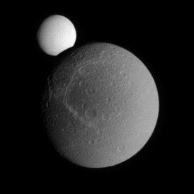 Two moons: Saturn's natural satellite Dione occults Enceladus