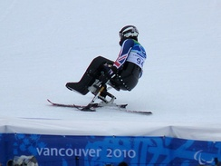 Alpine skiing: Talan Skeels-Piggins from Great Britain at the Winter Paralympics 2010 in Vancouver.