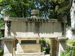 Molière's tomb at the Père Lachaise Cemetery. La Fontaine's is visible just beyond.