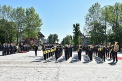 The regimental band for the Michael the Brave 30th Guards Brigade during the visit of Petro Poroshenko to Romania.