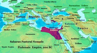 Ptolemaic Empire in 200 BC, alongside neighboring powers.
