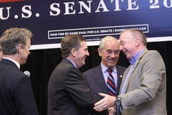 Davis campaigning with Rand Paul, Sen. Jim DeMint and Rep. Ron Paul in 2010