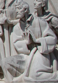 Effigy of Saint Francis Xavier in the Monument to the Discoveries in Lisbon, Portugal