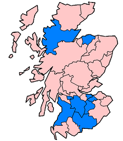 Lieutenancy areas of Scotland affected in June and July 2007 floods as of 24 July (marked in blue).