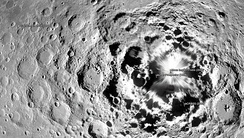 Map of the lunar south pole showing the SELENE craft at the left.