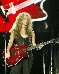 Shakira, a Colombian multilingual singer-songwriter, playing outside her home country.