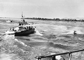 A Soviet ship using a water cannon against a Chinese fisherman on the Ussuri River on 6 May 1969