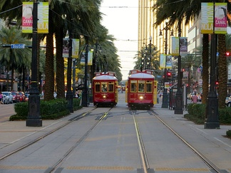 Streetcars on Canal Street, looking toward the river at Bourbon Street, May 2013