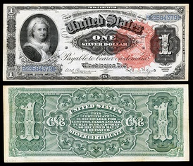 Series of 1886 $1 Silver Certificate featuring Martha Washington