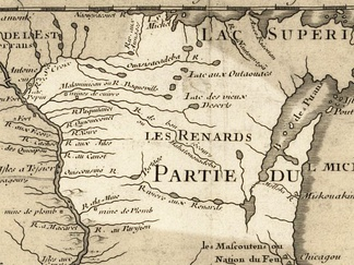 Wisconsin in 1718, Guillaume de L'Isle map, with the approximate state area highlighted