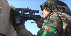 YPJ sniper during the battle for Raqqa