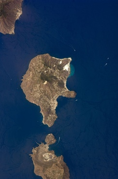 The Aeolian Islands (part of Salina, Lipari, and Vulcano) as seen from space.