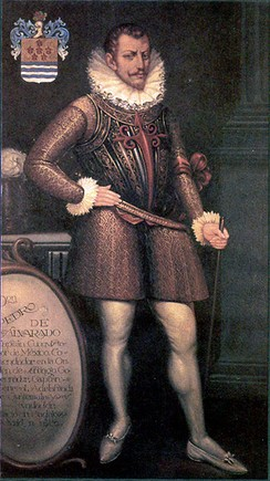 Painting of a bearded man in early 16th-century attire including prominent ruff collar, wearing a decorative breastplate, with his right hand resting on his hip and his left hand grasping a cane, or riding crop.