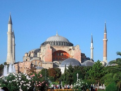 Hagia Sophia, the largest church in the world and patriarchal basilica of Constantinople for nearly a thousand years, later converted into a mosque, then a museum, then back to a mosque.