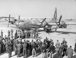 B-50 Superfortress, Lucky Lady II, preparing to take off from Carswell AFB, Texas for the first nonstop circumnavigation of the world, 1949