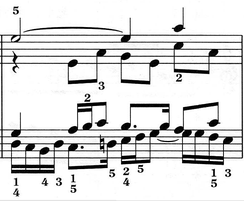 "A bar from J.S. Bach's ""Fugue No.17 in A flat"", BWV 862, from Das Wohltemperierte Clavier (Part I), a famous example of contrapuntal polyphony. Play (help·info)"