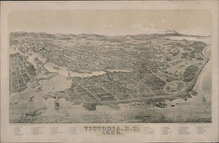 Bird's-eye view of Victoria in 1889. After the completion of the Canadian Pacific Railway in 1886, Victoria lost its position as the commercial centre of the province to Vancouver.