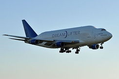 The Boeing Dreamlifter, a modified 747-400, first flew on September 9, 2006