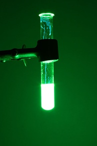 Chemiluminescence of cyalume, as found in a glow stick