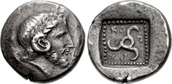 Kuprilli (480–440 BC) ruled at the time of the Athenian alliance. Head of Karneios or Zeus-Ammon and Triskeles. KO-Π-P(ΛΛ) around.