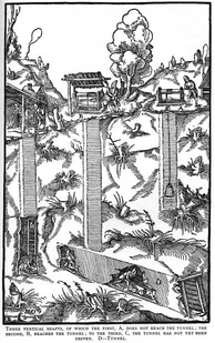 Woodcut of a mine with three shafts