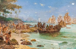 The Portuguese arrival in Brazil on 22 April 1500 was led by Pedro Álvares Cabral.