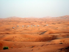A view of the desert landscape on the outskirts of Dubai