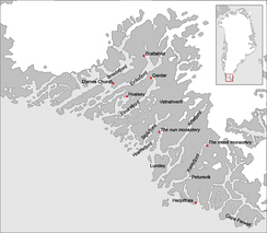 A map of the Eastern Settlement on Greenland, covering approximately the modern municipality of Kujalleq.  Eiriksfjord (Erik's fjord) and his farm Brattahlid are shown, as is the location of the bishopric at Gardar.