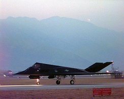 An F-117 Nighthawk taxis out for take off from Aviano Air Base, Italy, for an air strike mission in support of NATO Operation Allied Force on March 24, 1999