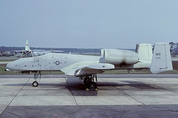 A Fairchild A-10A Thunderbolt II of the 81st Tactical Fighter Wing whilst based at Woodbridge during 1979.