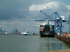 Port of Felixstowe – Landguard Terminal in the foreground with Trinity Terminal in the background