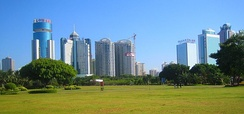 Haikou, the capital of the province as seen looking south from Evergreen Park, a large park located on the north shore of the city