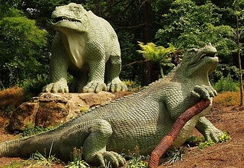 An 1853 model of an Iguanodon; the most recognisable of the Crystal Palace Dinosaurs
