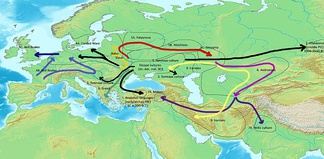 Scheme of Indo-European language dispersals from c. 4000 to 1000 BCE according to the widely held Kurgan hypothesis.- Center: Steppe cultures1 (black): Anatolian languages (archaic PIE)2 (black): Afanasievo culture (early PIE)3 (black) Yamnaya culture expansion (Pontic-Caspian steppe, Danube Valley)(late PIE)4A (black): Western Corded Ware4B (magenta): Bell Beaker; adopted by Indo-European speakers5A-B (red): Eastern Corded ware5C (red): Sintashta (proto-Indo-Iranian)6 (magenta): Andronovo7A (blue): Indo-Aryans (Mittani)7B (blue): Indo-Aryans (India)[NN](dark yellow): proto-Balto-Slavic8 (grey): Greek9 (yellow):Iranians– [not drawn]: Armenian, expanding from western steppe