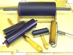 "A variety of contemporary rollers (""brayers"")."